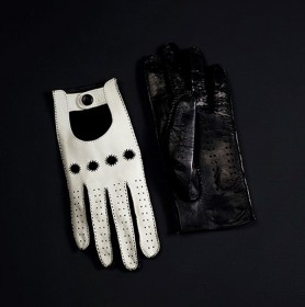 DRIVING GLOVE (WHITE-BLACK) (HERRENFAHRT 헤른파트)